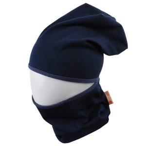 MAMAJUM tamsiai mėlyna dviguba kepurė su mova