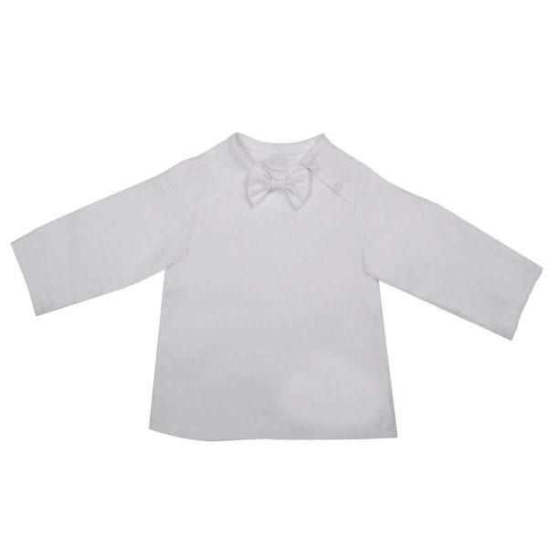 Mamajum balti krikšto lininiai marškinėliai su peteliške