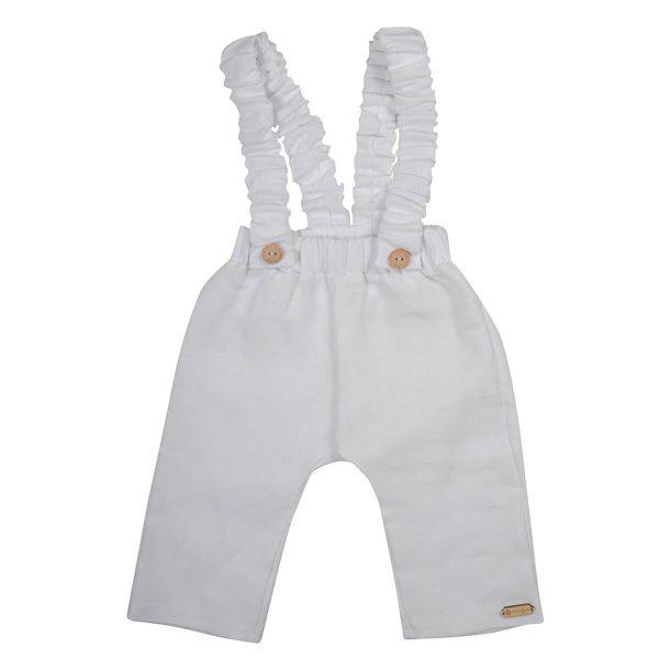 Mamajum baltos lininės kelnės su petnešomis