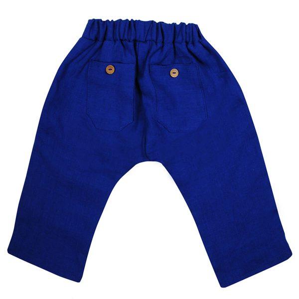 Mamajum mėlynos lininės kelnės su guma
