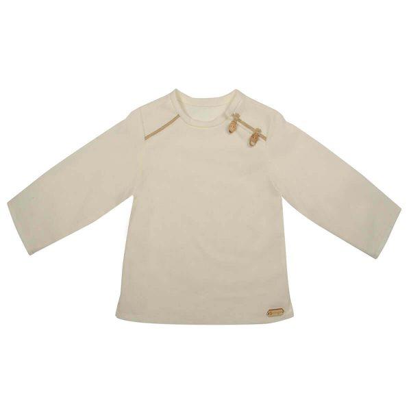 Mamajum smėlio spalvos lininiai krikšto marškinėliai su sagutėmis