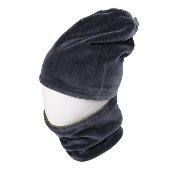 MAMAJUM veliūrinė kepurė su mova, pilka