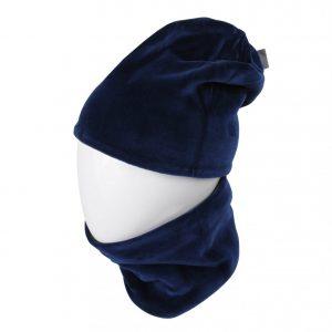 MAMAJUM veliūrinė kepurė su mova, tamsiai mėlyna