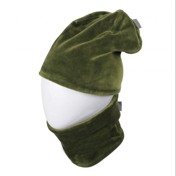 MAMAJUM veliūrinė kepurė su mova, žalia