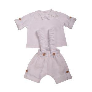 mamajum lininis kostiumelis baltas